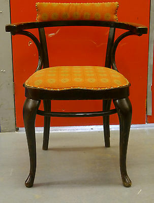 A pair of Thonet bentwood chairs upholstered in George Nelson fabric