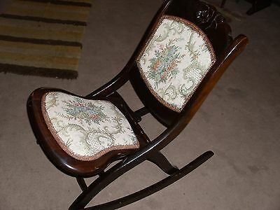 Vintage Wood Folding Rocking Chair With Tapestry Fabric