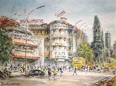 Betty Jacobshagen Binder Berlin Stadtansicht Kurfürstendamm Aquarell  50er Kudam