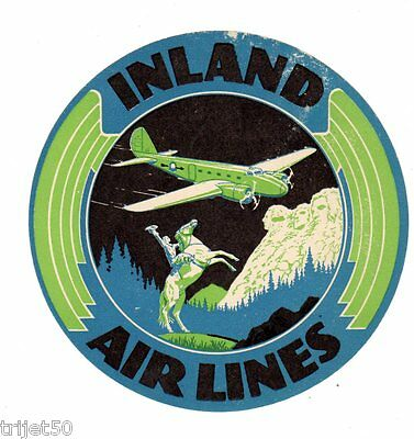 Inland Air Lines Luggage Label circa 1940