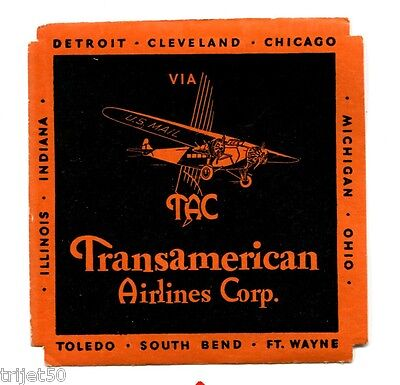 TAC Transamerican Airlines Corp Luggage Label c.1931-1933