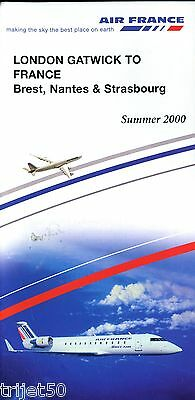 Airline Timetable Air France 2000 Summer London Gatwick