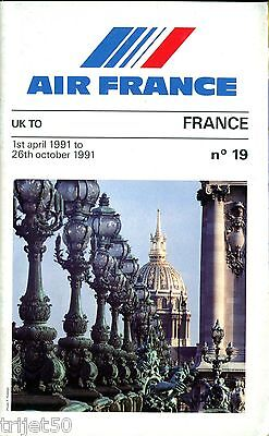 Airline Timetable Air France 1991 Summer UK Issue 19