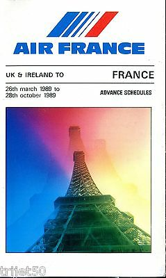 Airline Timetable Air France 1989 Summer Advance UK & Ireland
