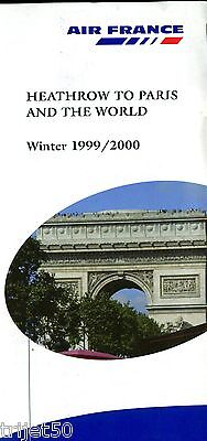 Airline Timetable Air France 1999 Winter Heathrow to Paris