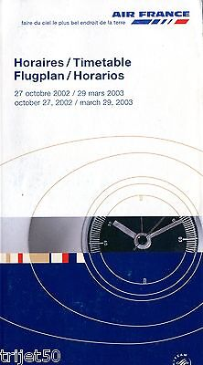 Airline Timetable Air France 2002 Winter