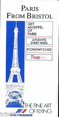 Airline Timetable Air France 1988 Summer Bristol