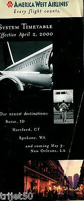 Airline Timetable American West 2000 April