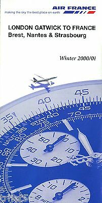Airline Timetable Air France 2000 Winter London Gatwick
