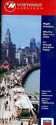 Airline Timetable Northwest Airlines 2000 May