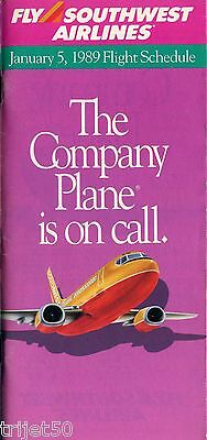 Airline Timetable Southwest Airlines 1989 January