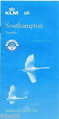Airline Timetable KLM 1998 Winter Southampton