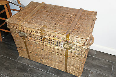 Vintage Laundry Basket French Brass Fittings -super Large and useable