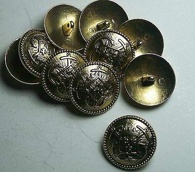 Pack of 8 12mm French Inspired Navy Anchor Gold Military Style Button 2042