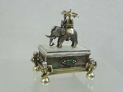Antique Silver Mother Of Pearl Snuff Box Elephant Diamonds Emeralds Turquoise