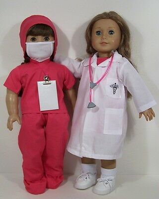 """PINK Doctor Dr Nurse Scrub Stethoscope Clothes For 18"""" American Girl Doll (Debs)"""
