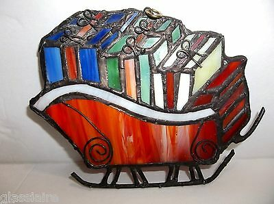 """Vintage Stained Glass SLEIGH Christmas Tree Ornament 4.75"""""""