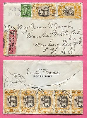 1936 Ecuador Grace Line Ship Env Multi Franked Air Mail Cover + Letter To Usa