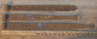 """3 Mismatched Hand Forged Iron Straps,21-7/16"""",18-1/2"""",& 17"""",Great Rusty Patina"""