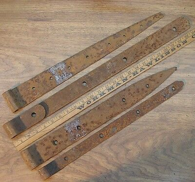 """4 Mismatched Hand Forged Iron Straps,24-3/16"""",20-1/219-3/4,19,Great Rusty Patina"""