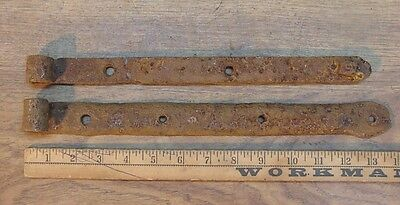 """2 Mismatched Hand Forged Iron Straps,13-13/16"""" & 13-1/16"""",Great Rusty Patina"""