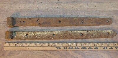 "2 Antique Hand Forged Iron Mismatched Straps,16-1/2 & 17-1/8"",Great Rusty Patina"