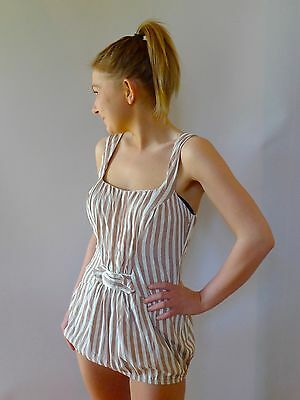 vintage retro true 40s M 12 striped swimsuit playsuit very good