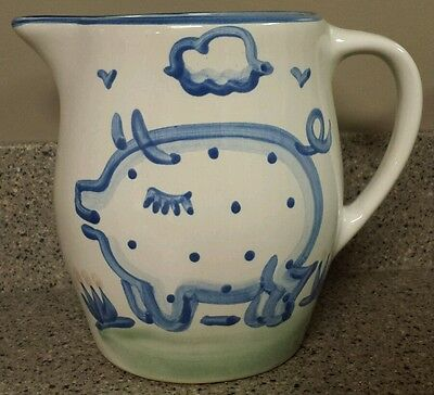 M A M.A. Hadley Pottery Pig Country Farm Water Tea Pitcher Stoneware The End