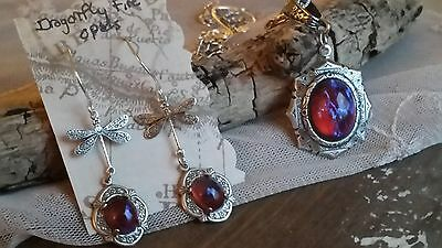 Fire Opal Dragon's Breath Set Necklace, Earrings and Dragonfly Ring Stunning