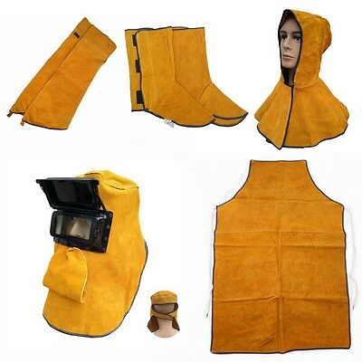 Welding Heat Insulation Protect Leather Aprons Gloves Shoe Cover Mask Cloaks New