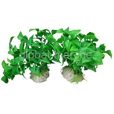 2pcs Plante Artificielle Ornement Aquarium Plastique Décoration