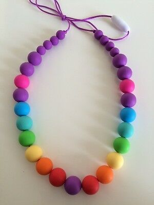 Silicone Sensory Baby (was teething) Necklace for Mum Jewellery Beads Rainbow