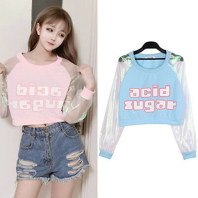 Harajuku Laser Sweatshirt Chemisier Coutures Manches Longues Tank Top Sexy Fille