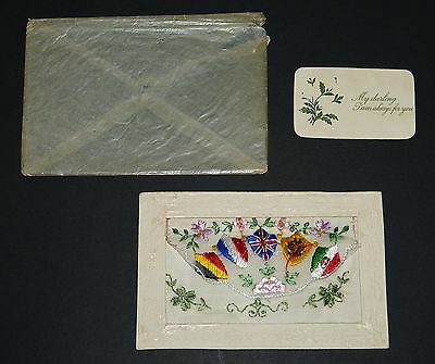 WW1 Embroidered SILK Sweetheart POSTCARD Always For You ALLIED FLAGS Great War