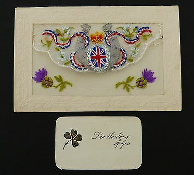 WW1 Embroidered SILK Sweetheart POSTCARD Thinking of You MILITARY War FRANCE