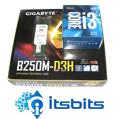 GIGABYTE B250M-D3H  MOTHERBOARD + INTEL i3-7100 3.9Ghz 1151 CPU + 8GB DDR4 RAM
