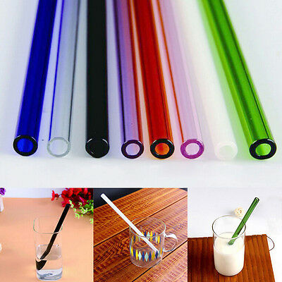 """Colorful Glass Straw Wedding Party Jars Drinking Juice Cocktail 8mm Dia 7""""X1PCHG"""