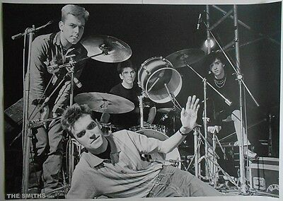 THE SMITHS Morrissey Johnny Marr Posing With Drum Kit 33 X 23 Inch B&W POSTER