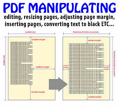 PDF Manipulating Services, editing, resizing pages, adjusting page margin etc...