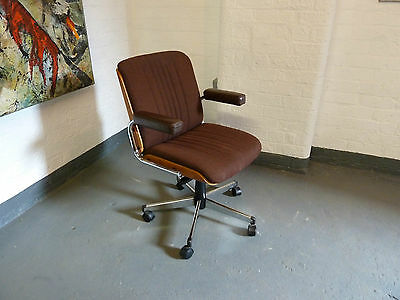 1970s Vintage Revolving Teak & Chrome Desk Chair with Leather Arms (20C409)