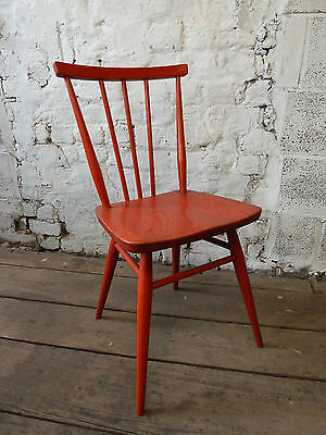Rare Vintage Red Ercol Low Stick Back Chair in Original Red Finish (20C196)