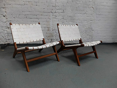 Pair of Midcentury Teak and Leather Italian Lounge Armchairs Circa 1960 (20C851)