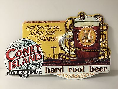 """Coney Island Brewing Co Hard Root Beer Tin Sign Tacker NEW & F/S - 17.5"""" X 11.5"""""""