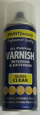 All Purpose Clear Gloss Varnish Can Household Car Spray Paint 400ml