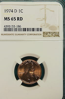 1974-D Ngc Ms65 Red Lincoln Cent!!!! #A7932
