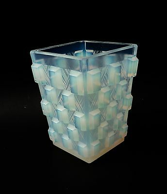Rare! Antique Vintage SABINO France Art Deco Opalescent Art Glass Square Vase