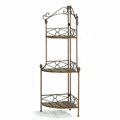 Corner Bakers Rack Rustic Style Great for Plants Collectibles & Kitchen New
