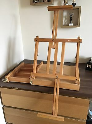 Folding Compact Beechwood Windsor And Newton Artists Easel With Paint Box