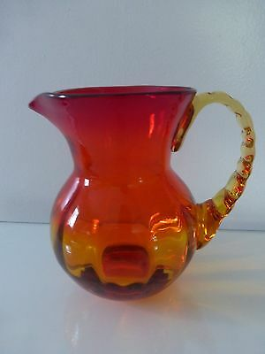 West Virginia Glass Pitcher w/Amber Crimped Applied Handle, Amberina optic