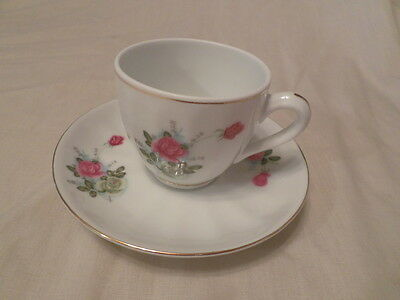 Demitasse Cup & Saucer Pink And Yellow Rose